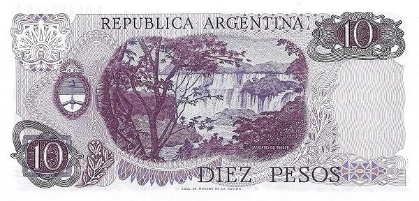 """Argentina 10 Pesos (1970-1973 """"Ley 18.188"""")"""