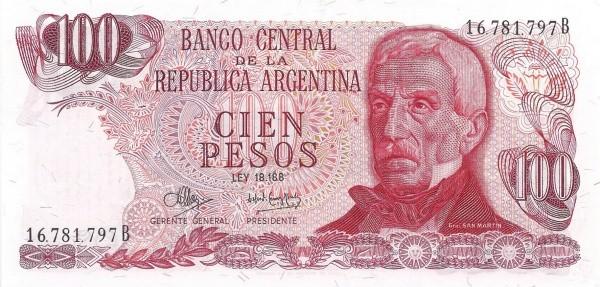 """Argentina 100 Pesos (1970-1973 """"Ley 18.188"""")"""
