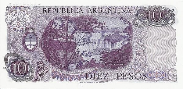 "Argentina 10 Pesos (1973-1976 ""Decreto-Ley 18.188/69"")"