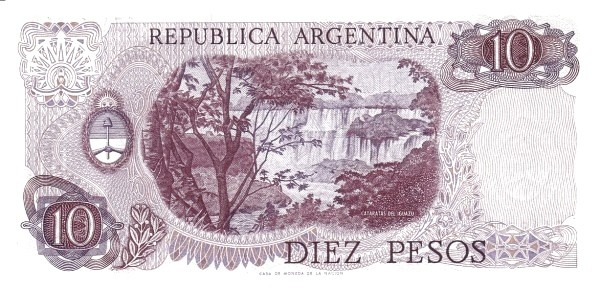 """Argentina 10 Pesos (1976-1983 """"Without Ley"""")"""