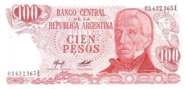 """Argentina 100 Pesos (1976-1983 """"Without Ley"""")"""