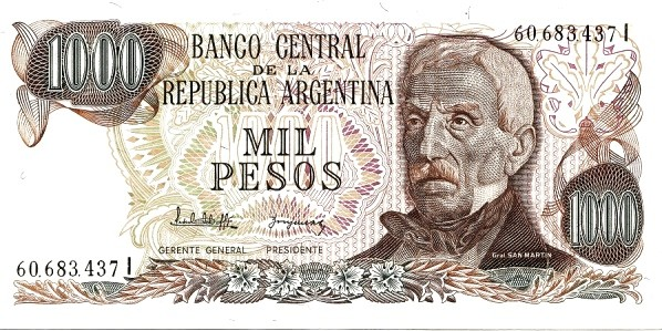 """Argentina 1000 Pesos (1976-1983 """"Without Ley"""")"""