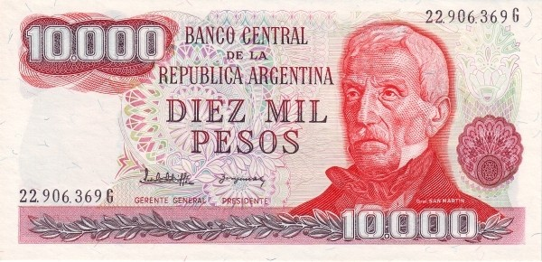 """Argentina 10000 Pesos (1976-1983 """"Without Ley"""")"""