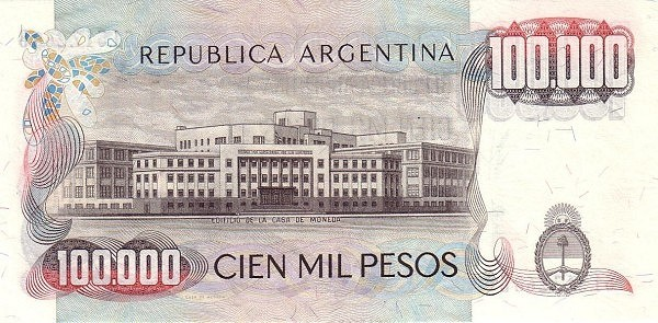 """Argentina 100000 Pesos (1976-1983 """"Without Ley"""")"""
