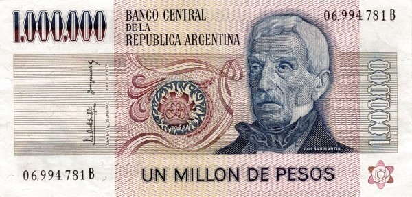 """Argentina 1000000 Pesos (1976-1983 """"Without Ley"""")"""