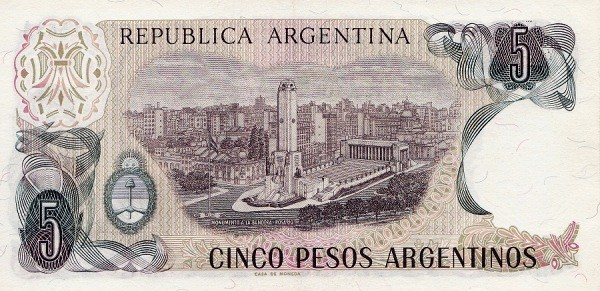 """Argentina 5 Pesos Argentinos (1983-1985) """"Peso Argentino"""")"""