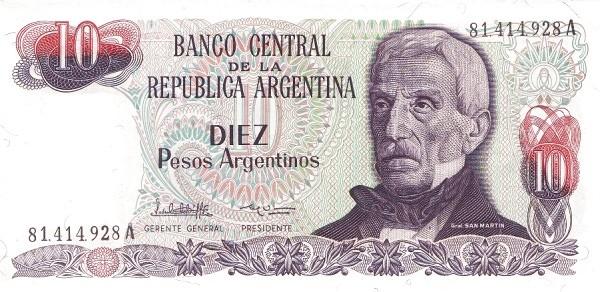 """Argentina 10 Pesos Argentinos (1983-1985 """"Peso Argentino"""")"""