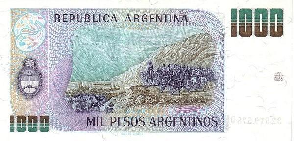 """Argentina 1000 Pesos Argentinos (1983-1985 """"Peso Argentino"""")"""