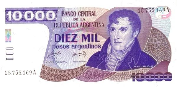 """Argentina 10000 Pesos Argentinos (1983-1985 """"Peso Argentino"""")"""