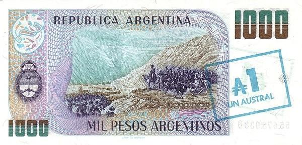 "Argentina 1 Austral (1985 ""Austral Overprints"" Provisional)"