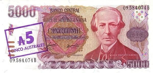 "Argentina 5 Australes (1985 ""Austral Overprints"" Provisional)"