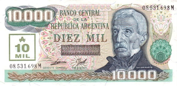 """Argentina 10000 Australes (1989-1990 """"Revalidated from Former Plates"""")"""