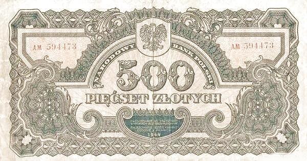 Poland 500 Złotych (1944)
