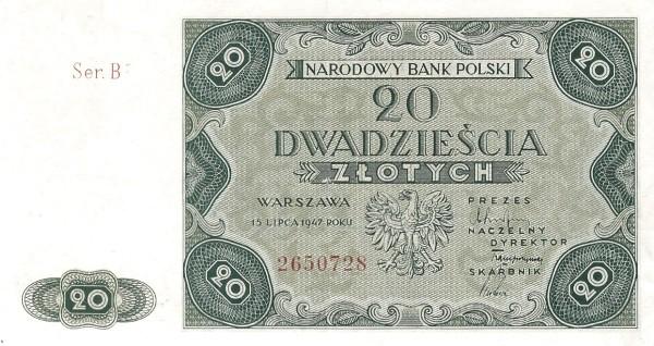 Poland 20 Złotych (1947)