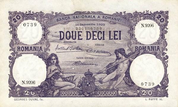 Romania 20 Lei (1909-1931)