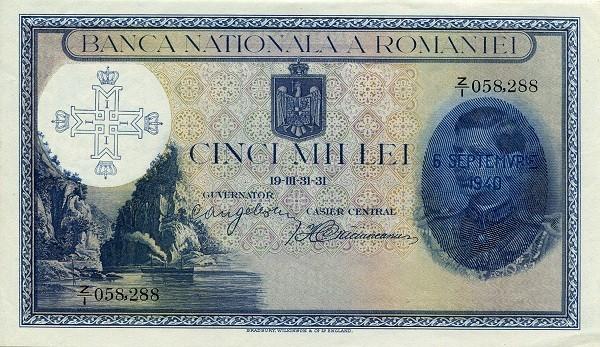 Romania 5000 Lei (1936-1940)