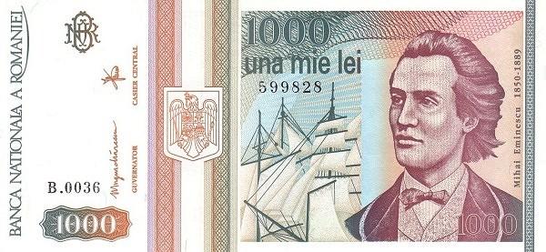 Romania 1000 Lei (1991-1994-2)
