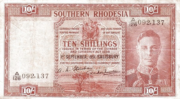 "Southern Rhodesia 10 Shillings (1939-1952 ""George VI"")"