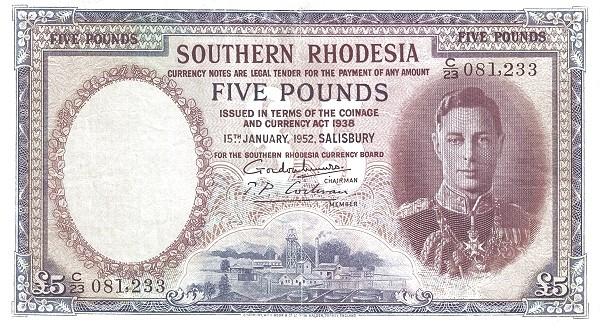 "Southern Rhodesia 5 Pounds (1939-1952 ""George VI"")"