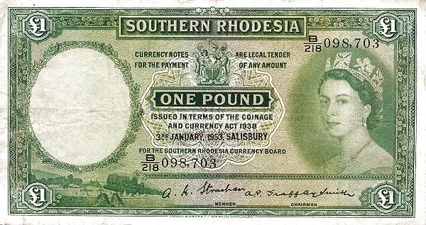 "Southern Rhodesia 1 Pound (1952-1954 ""Elizabeth II"")"