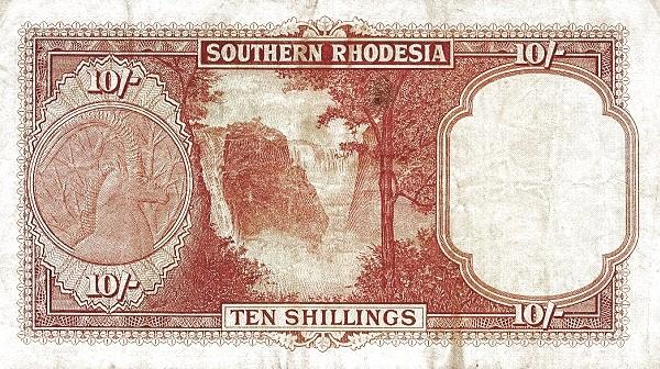 """Southern Rhodesia 10 Shillings (1955 """"Elizabeth II"""")"""