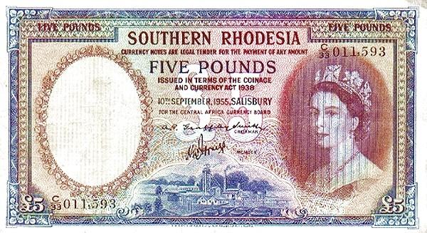 "Southern Rhodesia 5 Pounds (1955 ""Elizabeth II"")"