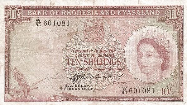 "Rhodesia and Nyasaland 10 Shillings (1956-1961 ""Elizabeth II"")"