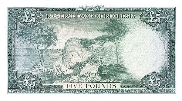 Rhodesia 5 Pounds (1964 Elizabeth II)