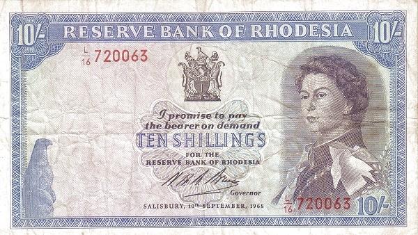 Rhodesia 10 Shillings (1966-1968 Elizabeth II)