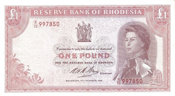 Rhodesia 1 Pound (1966-1968 Elizabeth II)