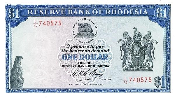 "Rhodesia 1 Dollar (1970-1975 ""Arms"" Dollar)"