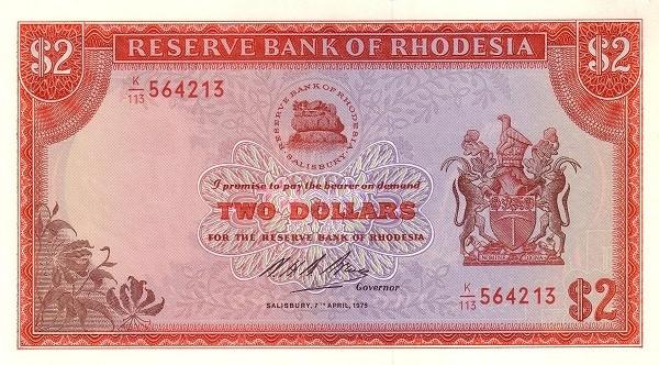 "Rhodesia 2 Dollars (1970-1975 ""Arms"" Dollar)"
