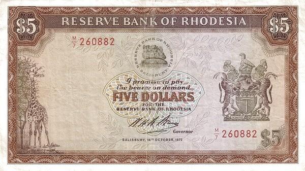 "Rhodesia 5 Dollars (1970-1975 ""Arms"" Dollar)"