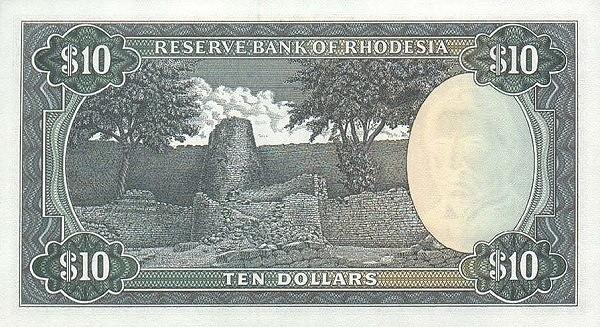 "Rhodesia 10 Dollars (1970-1975 ""Arms"" Dollar)"