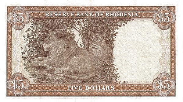 "Rhodesia 5 Dollars (1976-1979 ""Arms"" Dollar)"
