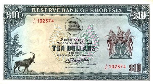 "Rhodesia 10 Dollars (1976-1979 ""Arms"" Dollar)"