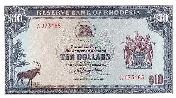 "Rhodesia 10 Dollars (1979 ""Arms - Watermark Zimbabwe Bird"")"