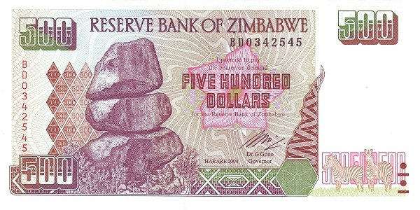 """Zimbabwe 500 Dollars (1994-2003 """"Chiremba Rocks""""-2)"""