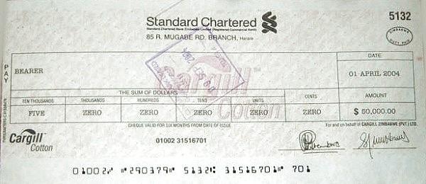 Zimbabwe 50000 Dollars (2004 Bearer Cheques Emergency)
