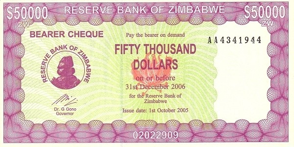Zimbabwe 50000 Dollars (2005-2006 Bearer Cheques Emergency-1)