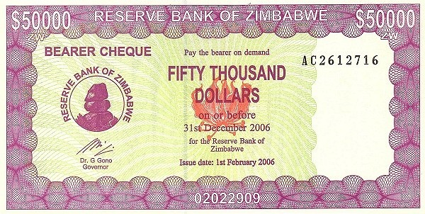 Zimbabwe 50000 Dollars (2005-2006 Bearer Cheques Emergency-3)