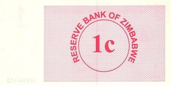 Zimbabwe 1 Cent (2006-2008 Bearer Cheques Emergency)
