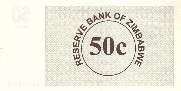 Zimbabwe 50 Cents (2006-2008 Bearer Cheques Emergency)