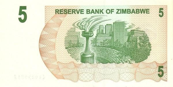 Zimbabwe 5 Dollars (2006-2008 Bearer Cheques Emergency)