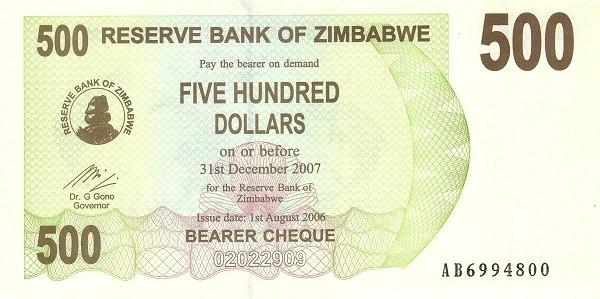 Zimbabwe 500 Dollars (2006-2008 Bearer Cheques Emergency)