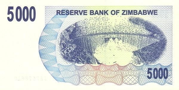 Zimbabwe 5000 Dollars (2006-2008 Bearer Cheques Emergency)