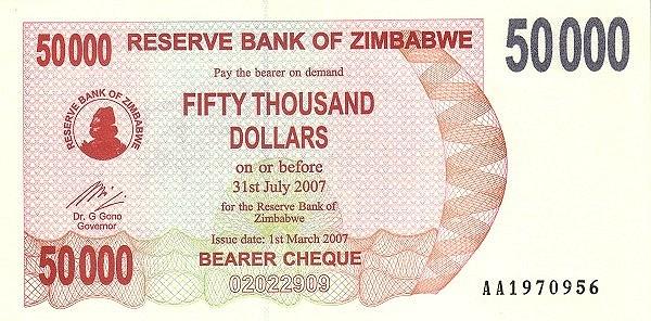 Zimbabwe 50000 Dollars (2006-2008 Bearer Cheques Emergency)
