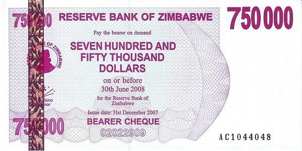 Zimbabwe 750000 Dollars (2006-2008 Bearer Cheques Emergency)