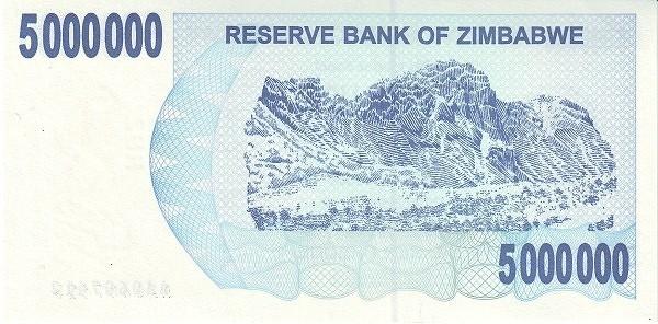 Zimbabwe 5000000 Dollars (2006-2008 Bearer Cheques Emergency)