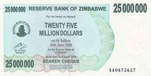 Zimbabwe 25000000 Dollars (2006-2008 Bearer Cheques Emergency)
